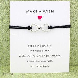 Las nuevas pulseras de infinito deseo del abrigo de la mujer con la tarjeta de regalo Make A Wish encanto pulsera de cuerda de la cera