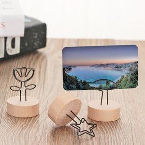 Creativo redondo de madera foto Clip Memo nombre tarjeta colgante titular nota artículos marco tabla número foto titular