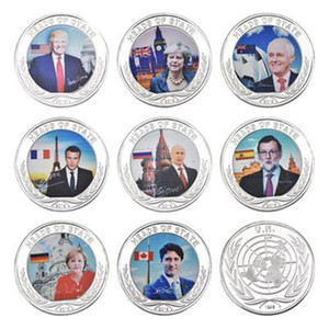 Each Country President Commemorative Coin Trump Putin Macron Trudeau Prime Minister Metal Badge Craft Collection New