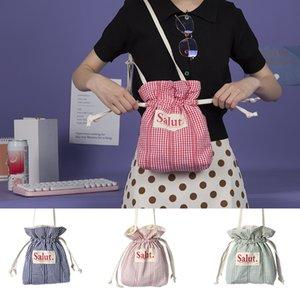 2020 Japanese small bucket canvas bag simple wild messenger shoulder bag womens handbags and purses