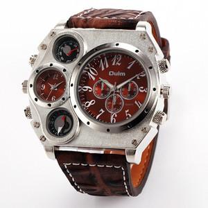 atacado 1349 Reloj Hombre Homens duplo movimento Sports Watch Militar Com Bússola Termômetro Decoração Masculino Relógio Relógio Masculino
