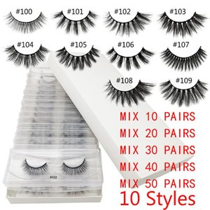 10 20 30 40 50Pairs Boxed 3D Mink Hair False Eyelashes Handmade Wispy Fluffy Natural Long Lashes Extension Eye Makeup Tools