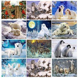 Круглый полный Алмаз мозаика вышивка животных 5d Diy Алмаз живопись Белый медведь картина стразы зима животных Сова Кролик Волк