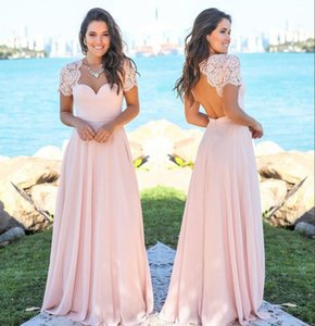 New Meat Pink Chiffon Country Bridesmaid Dresses Scoop Hollow Back Lace Top Beach Garden Wedding Guest Maid Of Honor Dresses
