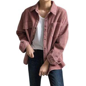 New Harajuku Corduroy Jaquetas Mulheres Outono-Inverno Coats Plus Size Overcoats Feminino Big Tops Casacos bonito Sólidos Roupa colorida