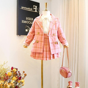 Девушки костюмы детские наряды новых 2019 осень Детская одежда для девочек пальто + плиссированные юбки детей бутик одежды Одежда для девочек