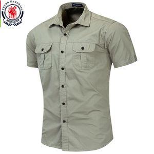 Fredd Marshall New Mens Military Shirt Men Short Sleeve Cargo Shirts 100% Cotton Casual Solid Shirt Male Pocket Work Shirt 55889 CX200605