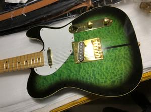 Custom Shop Мерл Хаггард Tuff Собака Tele TL Зеленый взрыв ватные Maple Top Guitar Electric Maple Neck, White Pearl Тюнеры, Gold Hardware