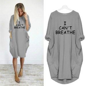 I Cant Breathe femmes lettre imprimée Robes Mode Nouveau dames Robes Casual lâche manches longues Vêtements pour femmes actives New Clothes