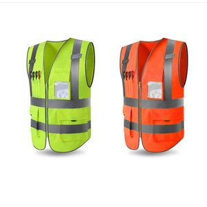 1PCS Solid Safety Vest Pouch Reflective Zipper Security Jacket Outdoor Waistcoat Uniforms Sportswear Newest High Quality