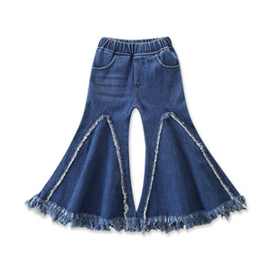 Baby Girl Tassel Jeans Splicing Rag Patchwork Big Boot Cut Wash Denim brossé Pantalon élastique Moyen-Waisted Designer Kids Pantalons Fall 1-6T