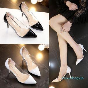 Afiado Set rasos Pés Pop2019 sapatos de mulheres solteiras com cristal sapatos de salto alto Mulher