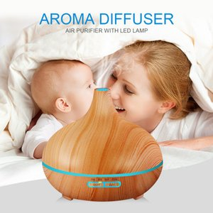 400ml Essential Oil Diffuser Wood Grain Ultrasonic Aroma Mini Cool Mist Humidifier LED Lamps For Office Home Baby Room Study Yoga Spa