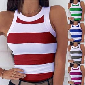 Yaz Kadın Tank En Moda Çizgili Kasetli Doğal Renk Tank Top Seksi Skinny Tank Bayan Giyim Tops