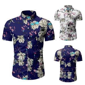 Цветочные печати Мужские дизайнерские Пляжные рубашки Мода Тонкий однобортный Мужские рубашки с коротким рукавом Повседневная одежда Мужчины