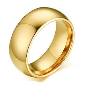8 mm 2 colores chapado en oro de alta banda polaca anillo de dedo de acero inoxidable 316L Pareja de boda anillos de compromiso para hombre regalo de San Valentín