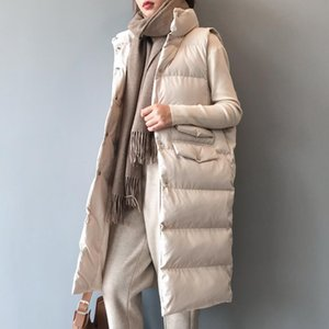 New Autumn Winter Medium-long Women Cotton Vests Coats All-match Single Breasted Female Bread Wadded Jackets