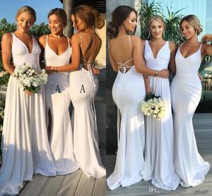 Простой Дизайн Белого Русалки Платья Невесты Длинные 2019 с Боковой Сплит Sexy Backless Пром Вечерние Платья Дешевая Мода Одежда