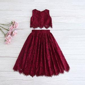 2020 Primavera-Verão Set Vestuário para meninas meia luva Lace Top + champagne rosa saia longa crianças roupas 2-11T E17121 CX200624