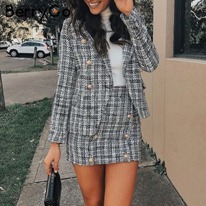 BerryGo Two-piece plaid tweed women blazer suit Casual streetwear suits female blazer sets Chic office ladies blazer skirt suits LY191123