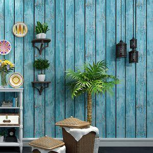 3d de madeira Vintage Grain Wallpaper rolo placa de madeira Plank Letters caracterizam o fundo Papel de parede Cafe loja