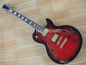 Benutzerdefinierte Großhandel rot und schwarze elektrische Gitarre freies Verschiffen