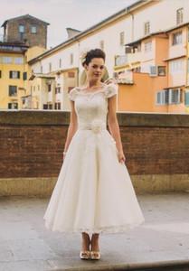 50s Style Retro Vintage short Wedding Dresses 2020 crew Cap Sleeves Lace Beads Buttons Short Ankle Length Sash flowers Bridal Dress
