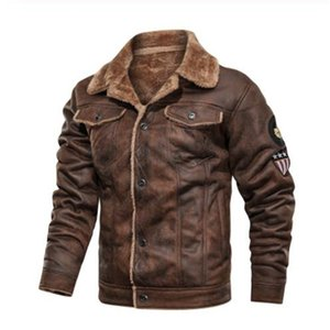 Biker Faux Leather Fashion Outerwear 2020 Mens Leather Jackets Motorcycle Fashion Stand Collar Zipper Pockets Vintage PU Coats
