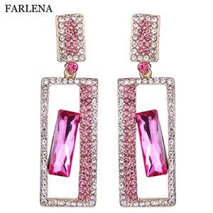 FARLENA Wedding Jewelry Geometric Crystal Rhinestones Drop Earrings for Women Bridal long Dangle Earrings
