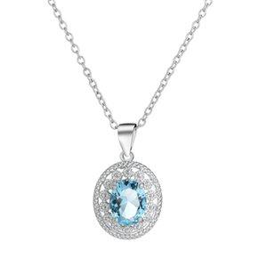 Colliers En Cristal Pendentifs Femmes Pour Mariage Imitation Exquise Bijoux en Argent Collier Bleu Collier Fine Bijoux Imitation Topaze Collier
