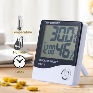 LCD Digital Temperature Humidity Meter HTC-1 HTC-2 Home Indoor Outdoor hygrometer thermometer Weather Station with Clock