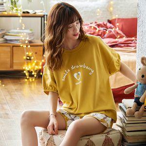 Frauen-Pyjamas Set Cotton Pyjamas Short Sleeve nette Karikatur-Buchstabe-Druck-Sommer-Frauen Heim Wear