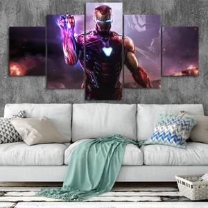 Lona de Arte Homem de Ferro Cartazes Home Decor Wall Art Estrutura 5 Peças Pinturas Para Sala de estar HD Imprime Fotos Marvel NO. B