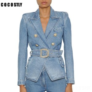 Autumn New Classic Denim Suit For Women Double Breasted Jean Blazer Jacket Tops Women Casual Long Sleeve With Belt Denim Coat
