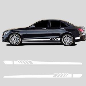 Edition 1 Jupe côté Stripe autocollant en fibre de carbone pour Viny Mercedes Benz Classe C W205 C180 C200 C300 C350 C63 C43 AMG Accessoires