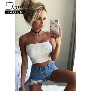 2020 New Sexy Women Summer White Tank Tops Wrap Chest Sleeveless Red Cami Top Womens Elastic Ruched Strapless Black Crop Top T200706