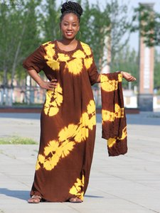 2020 New African Autumn Tie Dyeing Kaftan Hot Drilling Yellow Brown Big Oversize Dress Drop Shipping
