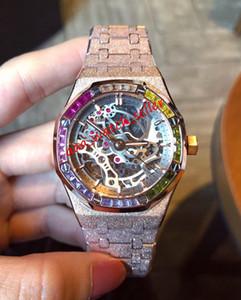 4 estilos Nova mens luxo diamante relógios 37 milímetros Royal Oak 15468 15407 15202 15400 moldura do arco-íris fosco ouro Openworked relógio de pulso automático