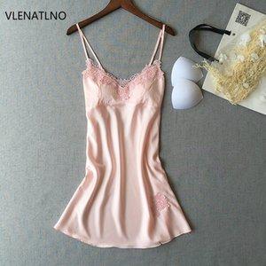 Neue Frauen-reizvolle Wäsche-Isolationsschlauchbügel-Sleeveless Nightgowns Silk V-Ansatz Nachthemd nehmen Aufenthaltsraum-Mininachtwäsche Sleepshirts ab