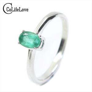 Promoción Natural Emerald anillo de bodas para mujer 0.4 Ct 4mm * 6mm Natural I Grade Emerald Solid 925 Silver Emerald Gemstone Ring Y19051602