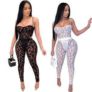Disegno geometrico Mesh donne Outfits Nightclub Bar sexy See Through Spaghetti Body + pantaloni lunghi Due Pezzi Partito Top abiti estivi