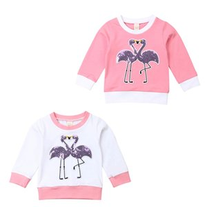 Emmababy bambino bambini della neonata Flamingo manica lunga Felpe Felpe Top T-shirt