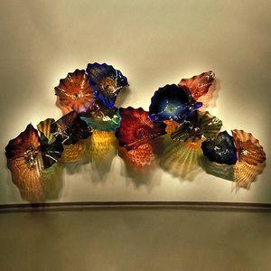 Blown placas de vidro Wall Light de luxo Grande Murano Vidro Flor Plater decorativa Wall Art Mão Turquia design colorido LED Wall Mounted Sconce