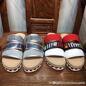 Hombres Sandalias de fondo rojo, Zapatillas transpirables y cómodas Estilo Diapositivas con goma resistente Sandalias con suela roja Plataforma Zandal Sandalias con caja