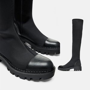 Black 2019 autumn and winter new women's shoes black trench flat soles over the knee elastic boots thin fashion boots JXX125