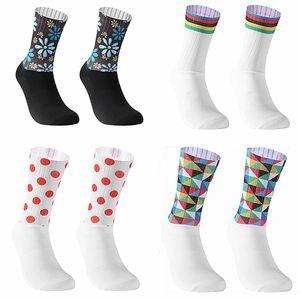 Nuovo Anti Slip senza saldatura Cycling Socks integrale Stampaggio ad alta tecnologia per bici calza a compressione bicicletta all'aperto corsa Calzini Sport