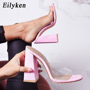Eilyken PVC Sexy Transparent Rose Serpentine Dames Pantoufles Summer Fashion Party Talons Chaussures Gladiator Diapositives Sandales Femmes