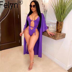 Felyn 2020 Meilleure qualité design de mode 2 pièces Maillot de bain femme Set Bodys solides et X-Long Outwear Beach Wear BB3378