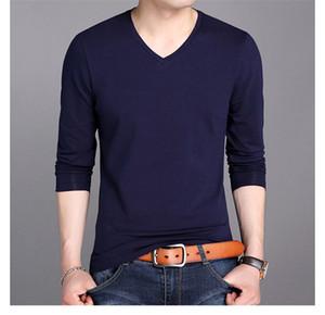 Mens Designer Tshirts Pure Color Langärmlig V Ansatz dünne Tees Frühling Jugendliche Baumwollbeiläufiges Kleidung