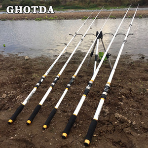 GHOTDA Nuovo Design Bianco Spinning Canna da pesca FRP + Fibra di carbonio Telescopica Canne da pesca 2.1-3.6M